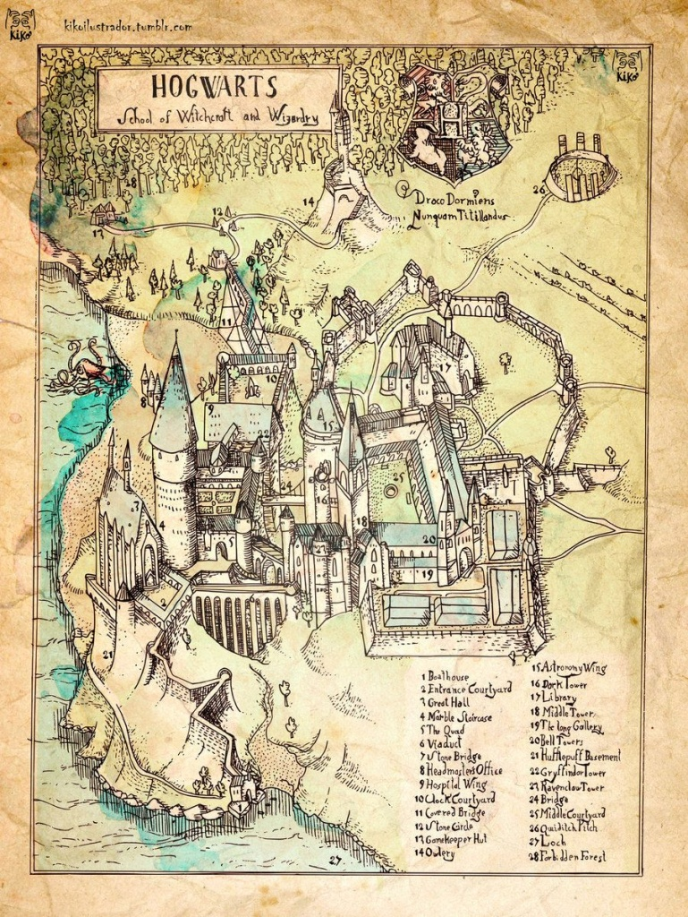 Map Of Hogwarts School Of Witchcraft And Wizardry | House | Harry - Hogwarts Map Printable