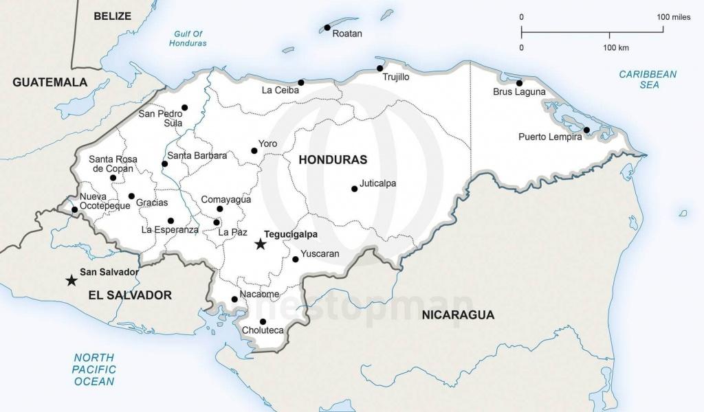 Map Of Honduras Political - Printable Map Of Honduras