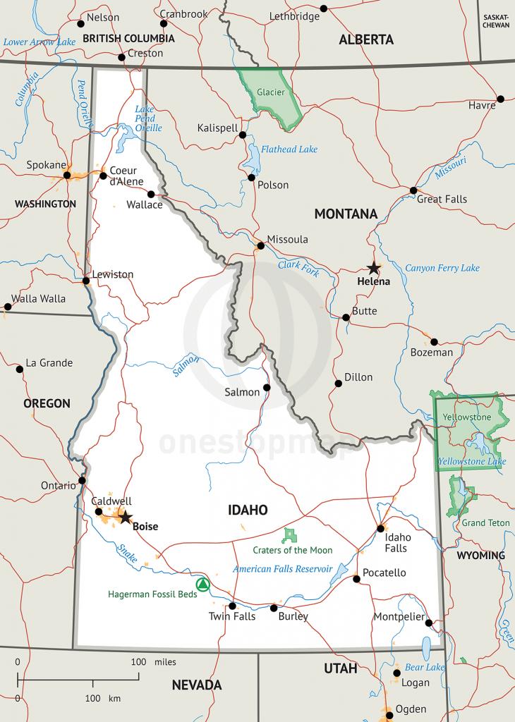 Map Of Idaho Defined Plus - Printable Map Of Idaho