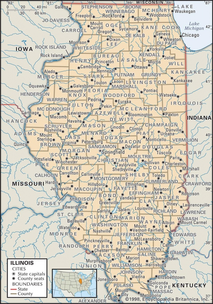 Map Of Illinois Counties - World Maps - Illinois County Map With Cities Printable