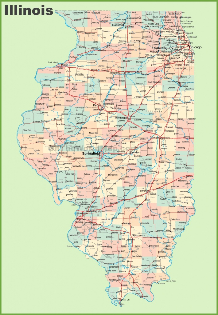 Map Of Illinois With Cities And Towns - Illinois State Map Printable