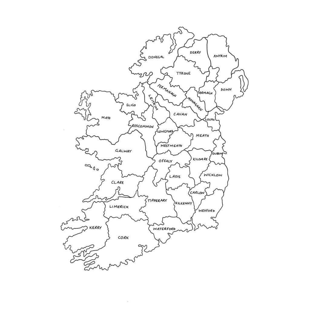 Map Of Ireland Counties Black And White – Uk Map - Printable Black And White Map Of Ireland