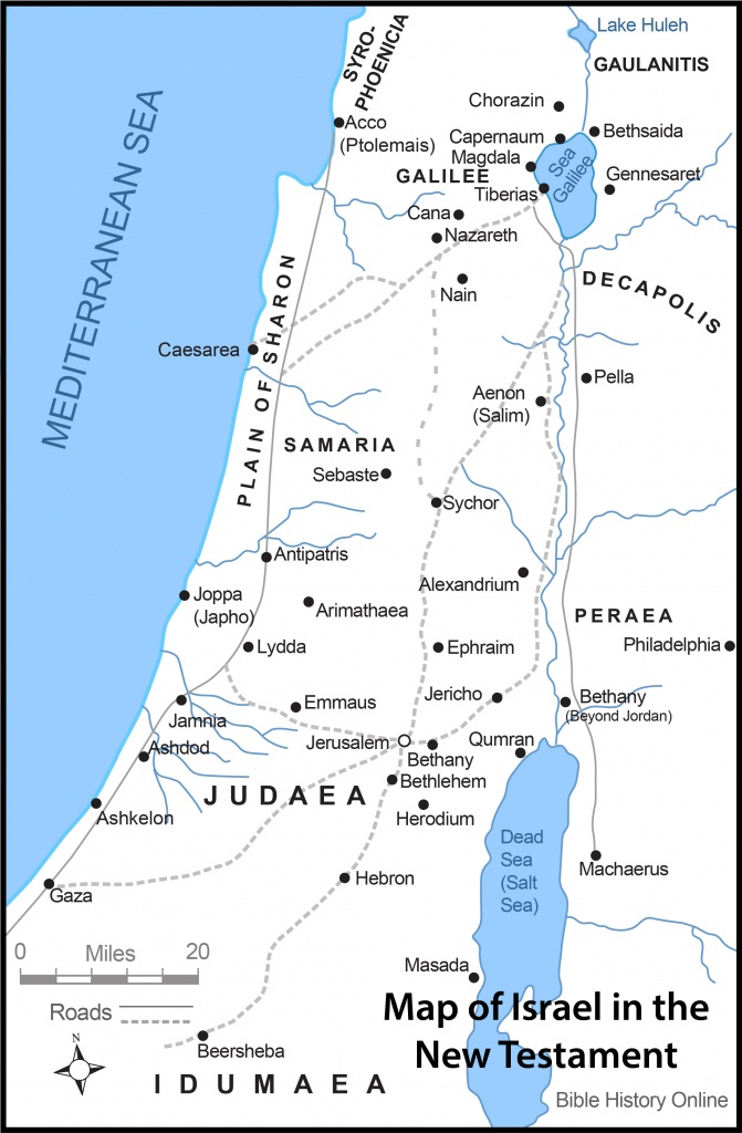 Map Of Israel In The Time Of Jesus Christ With Roads (Bible History - Printable Bible Maps