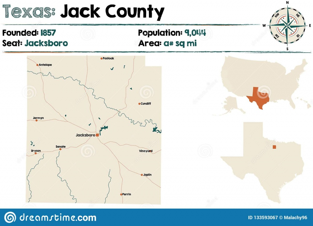 Map Of Jack County In Texas Stock Vector - Illustration Of Education - Jack County Texas Map