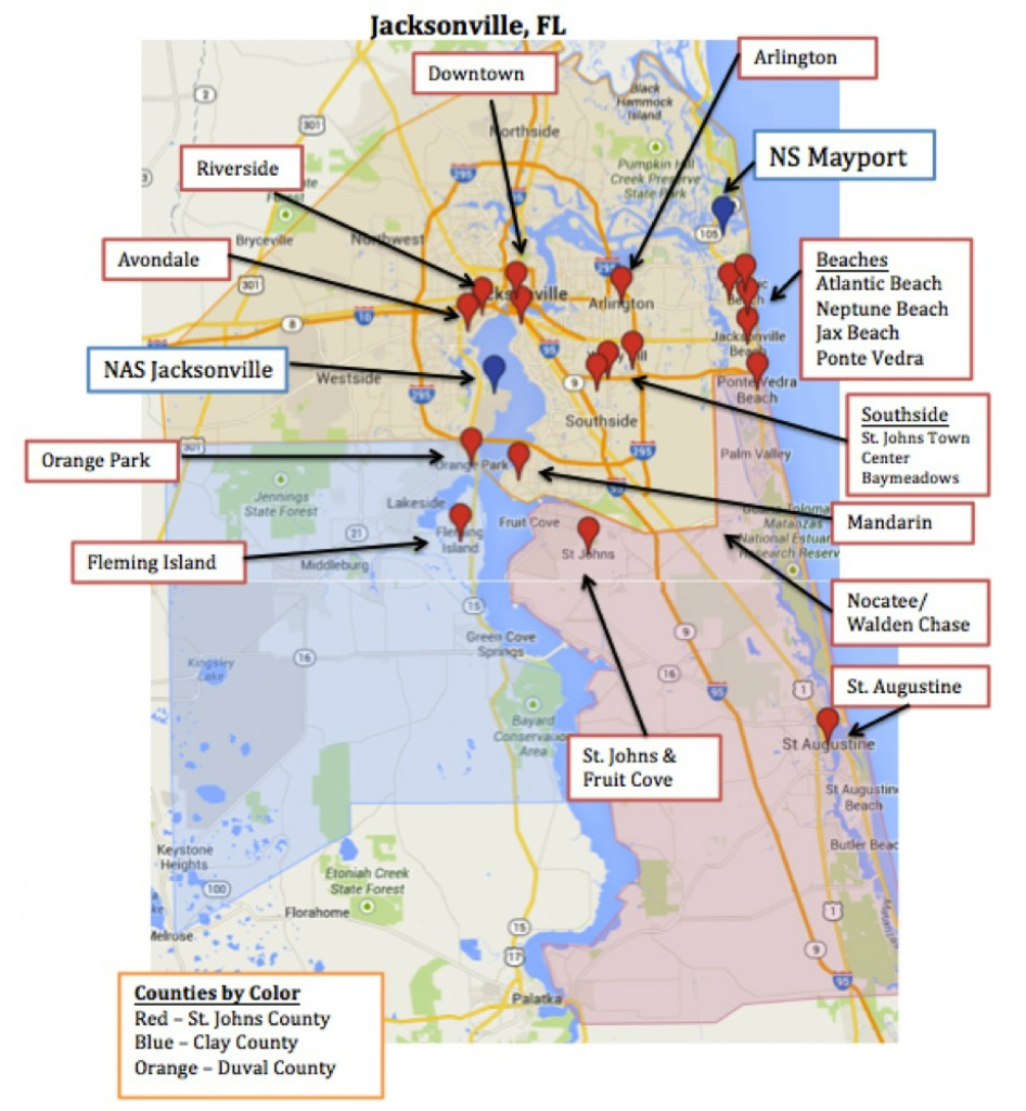Map Of Jacksonville & Mayport, Florida | Military Town Advisor - Florida Navy Bases Map