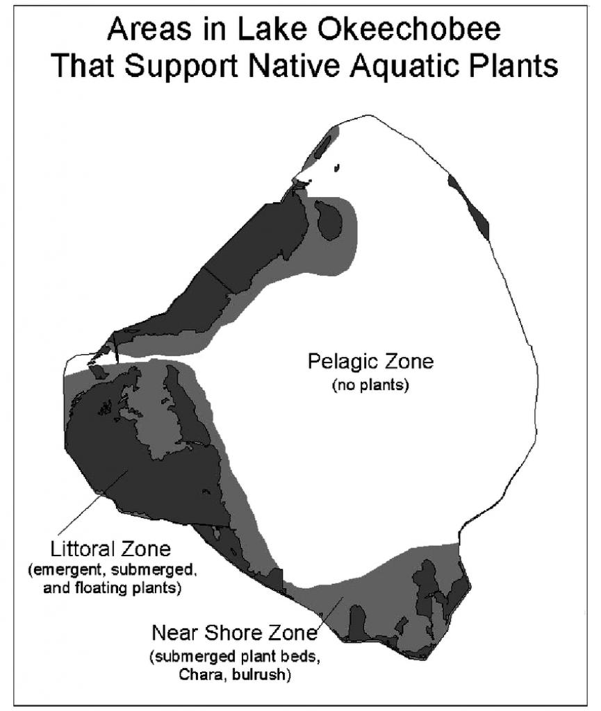 Map Of Lake Okeechobee, Florida, U.s., Showing Regions That Support - Lake Okeechobee Florida Map