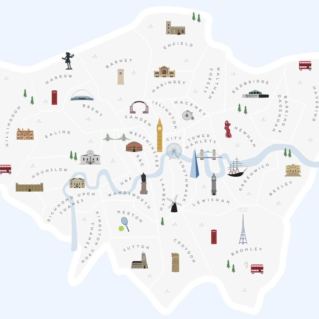 Map Of London Boroughs Printpepper Pot Studios - Printable Map Of London Boroughs