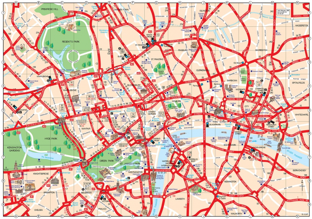 Map Of London Tourist Attractions, Sightseeing & Tourist Tour - Map Of London Attractions Printable
