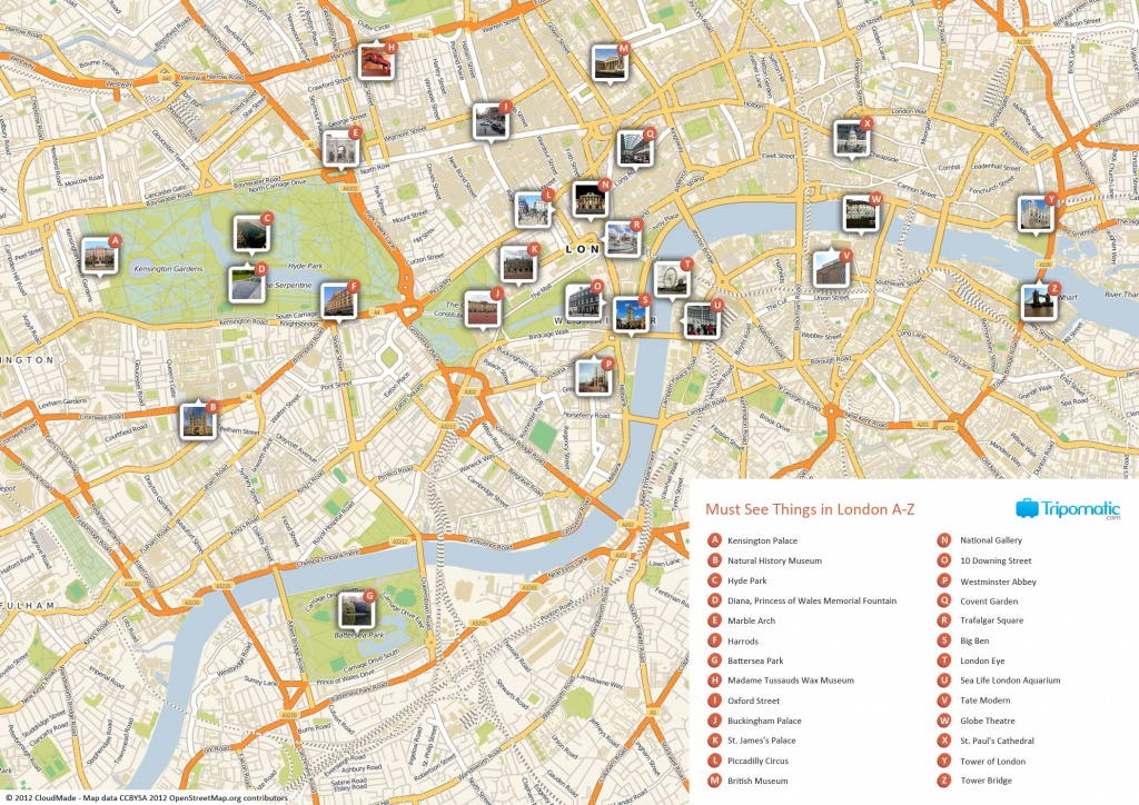 Map Of London With Must See Sights And Attractions. Free Printable - Printable Map Of London England