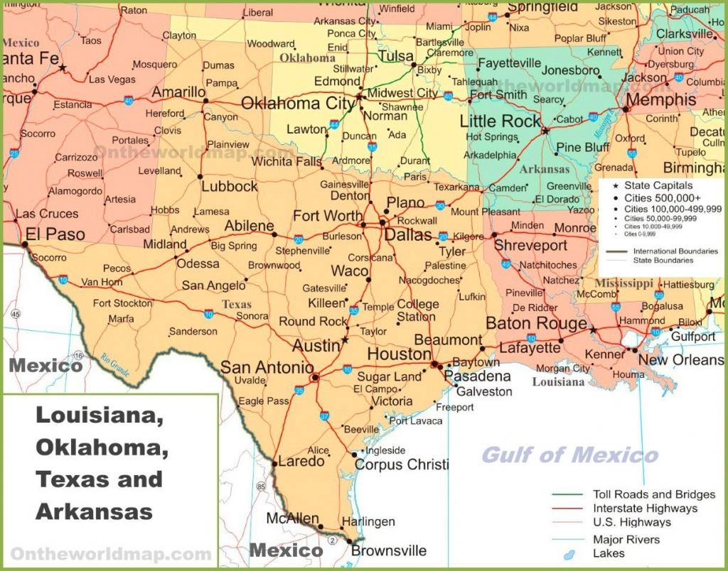 Map Of Louisiana, Oklahoma, Texas And Arkansas - Texas Louisiana Border Map