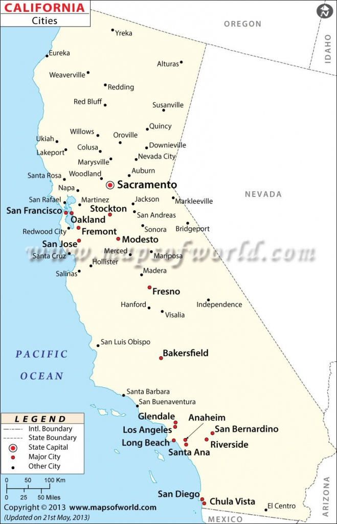 Map Of Major Cities Of California   Maps In 2019   California Map - California Map With All Cities
