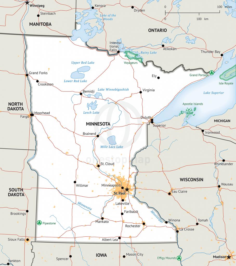 Map Of Minnesota Defined Plus - Printable Map Of Minnesota