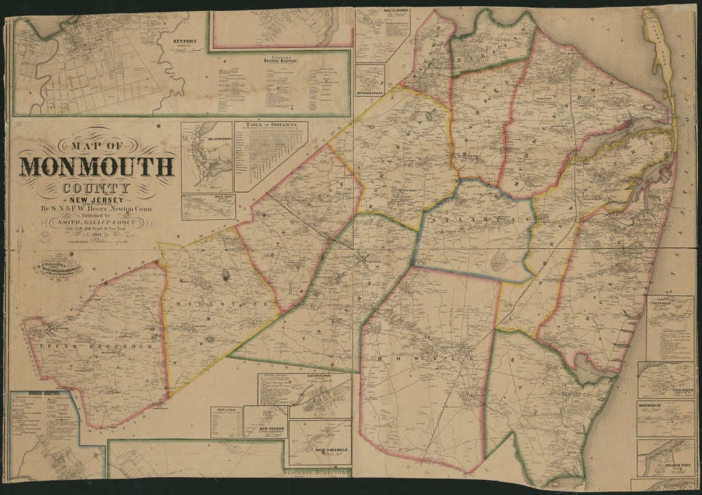 Map Of Monmouth County, New Jersey : From Actual Surveys   Library - Printable Map Of Monmouth County Nj