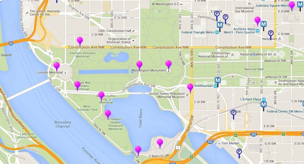 Map Of Monuments And Memorials In Washington, D.c. - Printable Map Of Dc Monuments