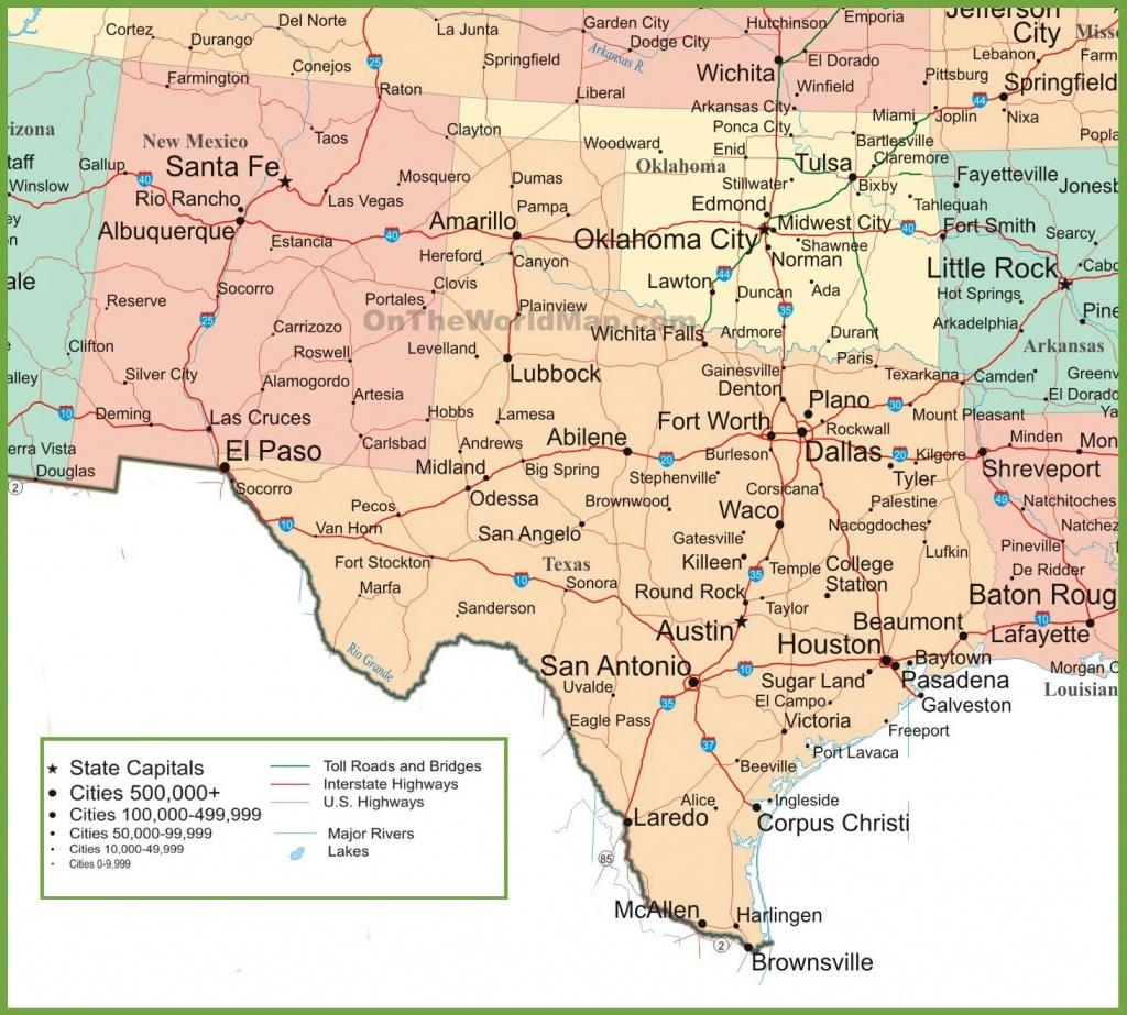 Map Of New Mexico, Oklahoma And Texas - Colorado City Texas Map