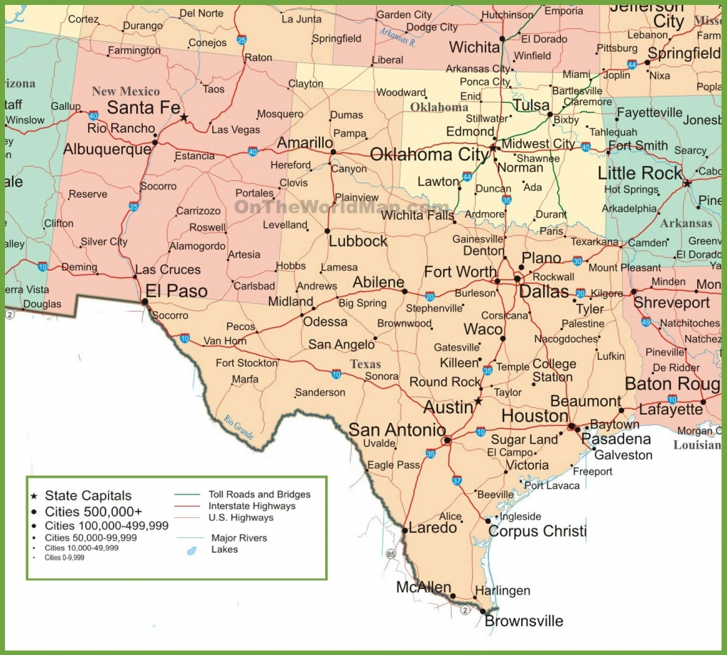 Map Of New Mexico, Oklahoma And Texas - Road Map Of Texas And Oklahoma