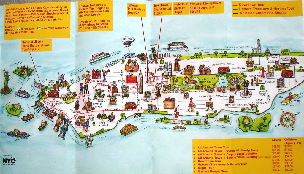 Map Of New York City Attractions Printable | Manhattan Citysites - Printable Map Of New York City Landmarks