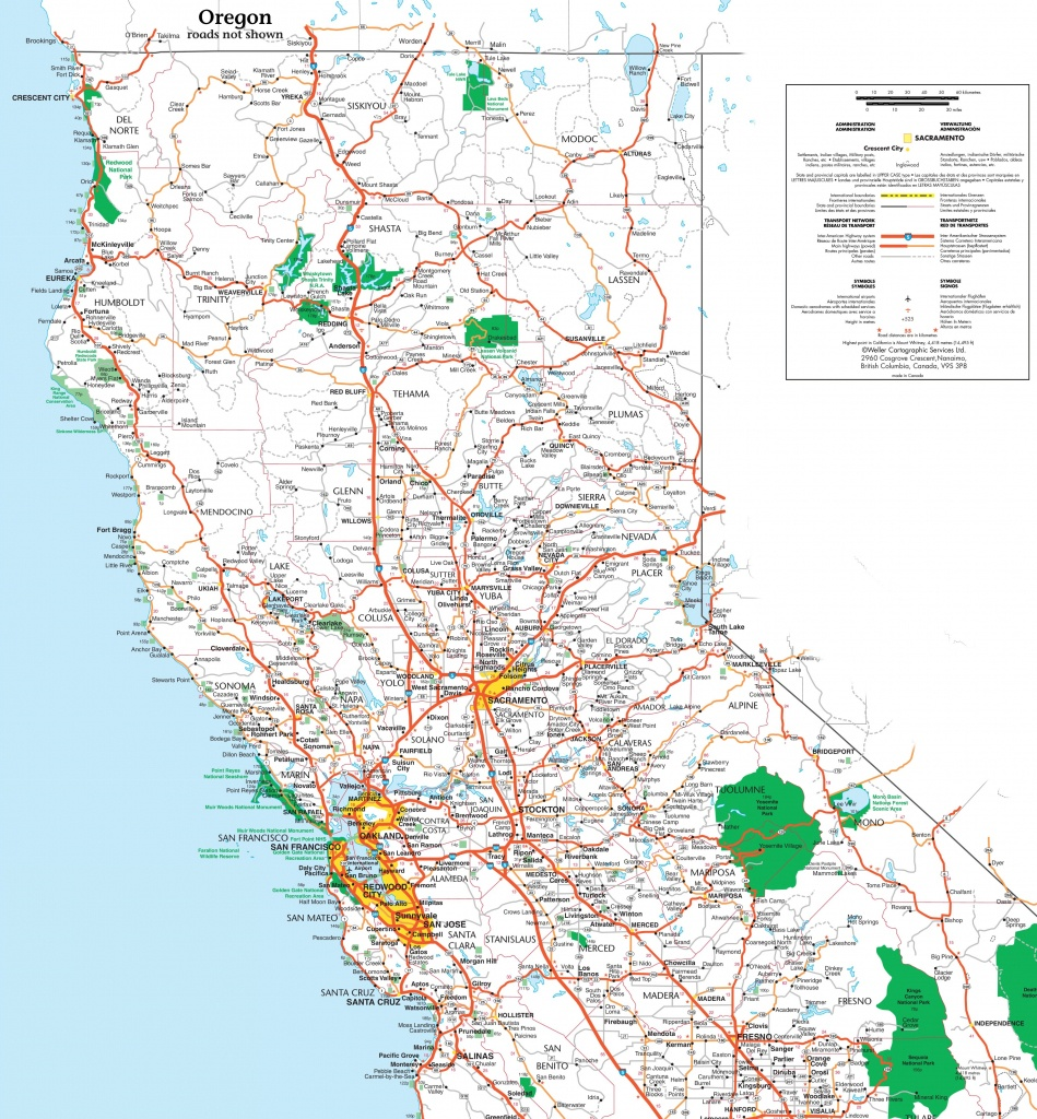 Map Of Northern California - Printable Road Map Of California
