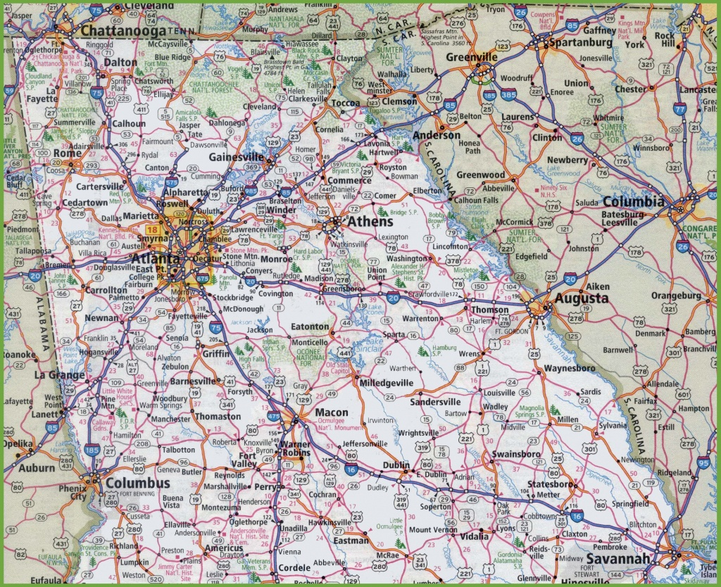 Map Of Northern Georgia - Georgia Road Map Printable