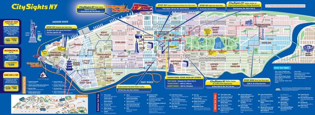 Map Of Nyc Tourist Attractions, Sightseeing & Tourist Tour - Printable Map Of Manhattan Tourist Attractions