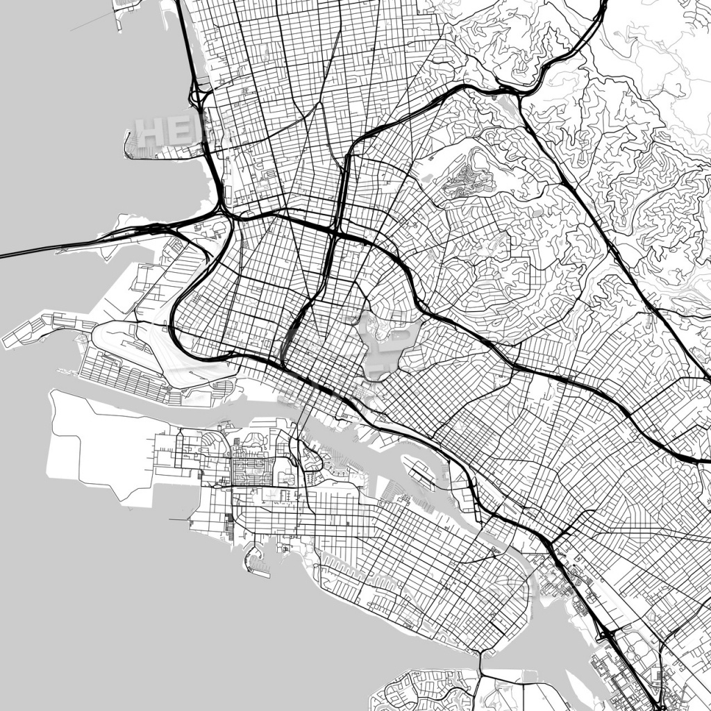 Map Of Oakland, California | Hebstreits Sketches - Oakland California Map