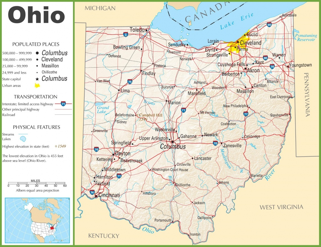 Map Of Ohio State And Travel Information   Download Free Map Of Ohio - Ohio State Map Printable