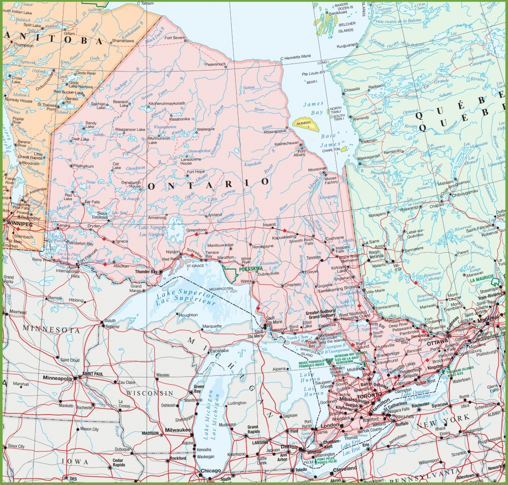 Map Of Ontario With Cities And Towns - Free Printable Map Of Ontario