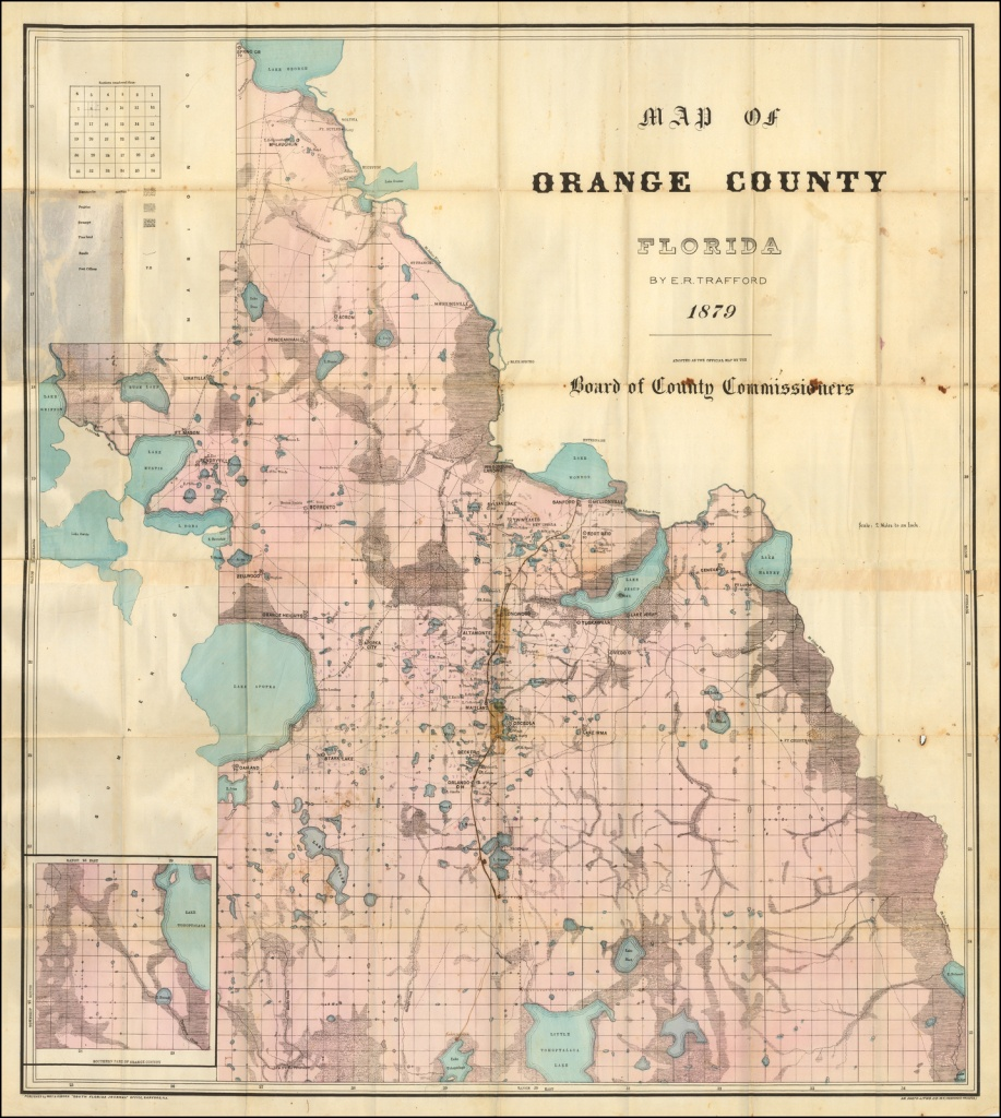 Map Of Orange County Floridae.r. Trafford 1879. Adopted As The - Sanford Florida Map
