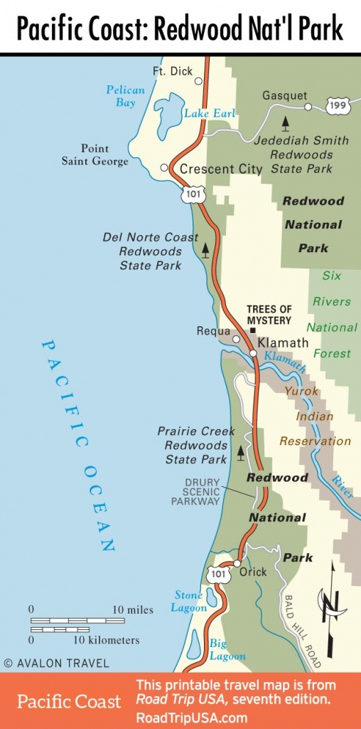 Map Of Pacific Coast Through Redwood National Park.   Pacific Coast - California Redwood Parks Map