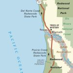 Map Of Pacific Coast Through Redwood National Park. | Pacific Coast   California Redwoods Map