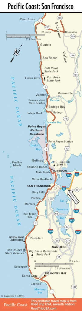 Map Of Pacific Coast Through San Francisco. | Pwc | Oregon Road Trip - Oregon California Coast Map