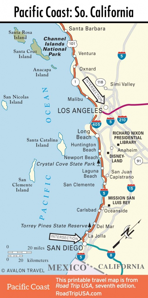 Map Of Pacific Coast Through Southern California. | Southern - Map Of Southern California Beaches
