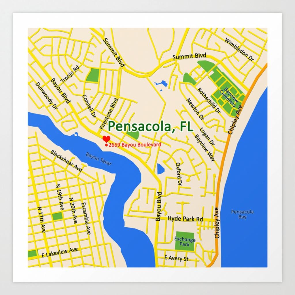 Map Of Pensacola, Fl Art Printefratul | Society6 - Where Is Pensacola Florida On A Map