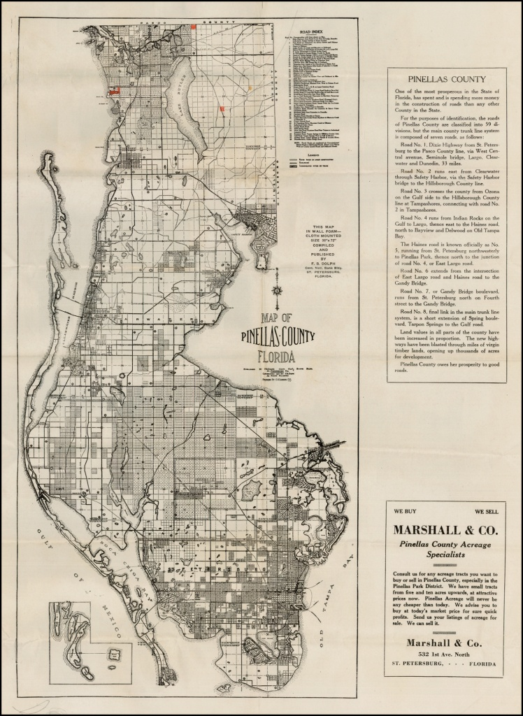 Map Of Pinellas County Florida . . . 1925 - Barry Lawrence Ruderman - Vintage Florida Maps For Sale