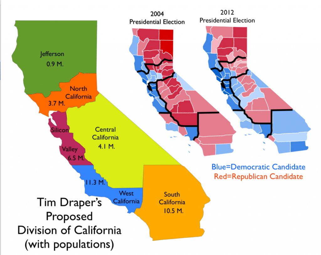 Map Of Proposal To Divide California Into Six States [1000X794 - New California Map 3 States