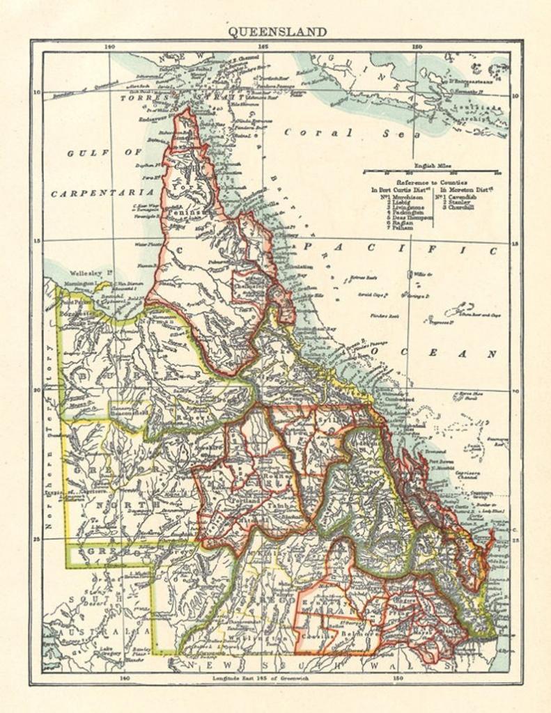 Map Of Queensland Australia A Vintage Printable Digital Image | Etsy - Printable Map Of Queensland