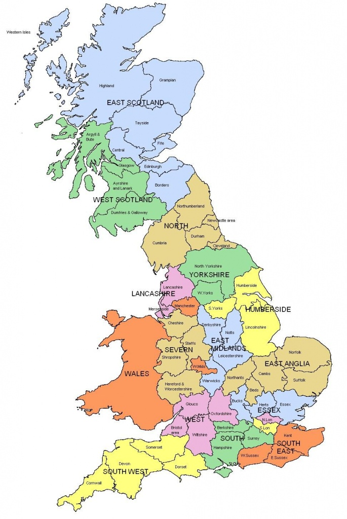 Map Of Regions And Counties Of England, Wales, Scotland. I Know Is - Printable Map Of Uk Counties