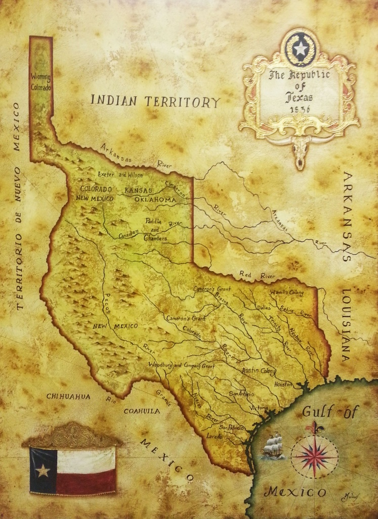 Map Of Republic Of Texas 1836Julius Lira Salazar In 2019   Texas - Republic Of Texas Map Framed