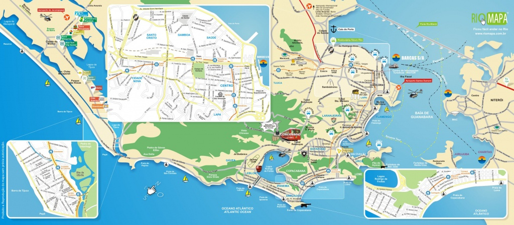 Map Of Rio De Janeiro Tourist Attractions, Sightseeing & Tourist Tour - Printable Map Of Rio De Janeiro