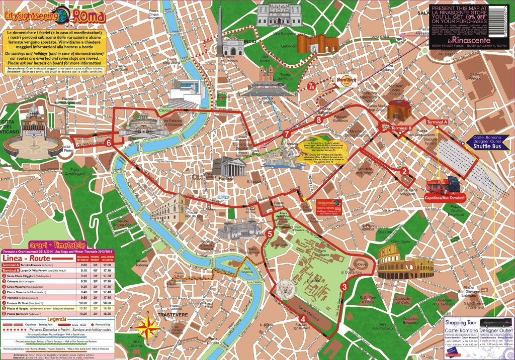 Map Of Rome Tourist Attractions, Sightseeing & Tourist Tour - Printable Walking Map Of Rome