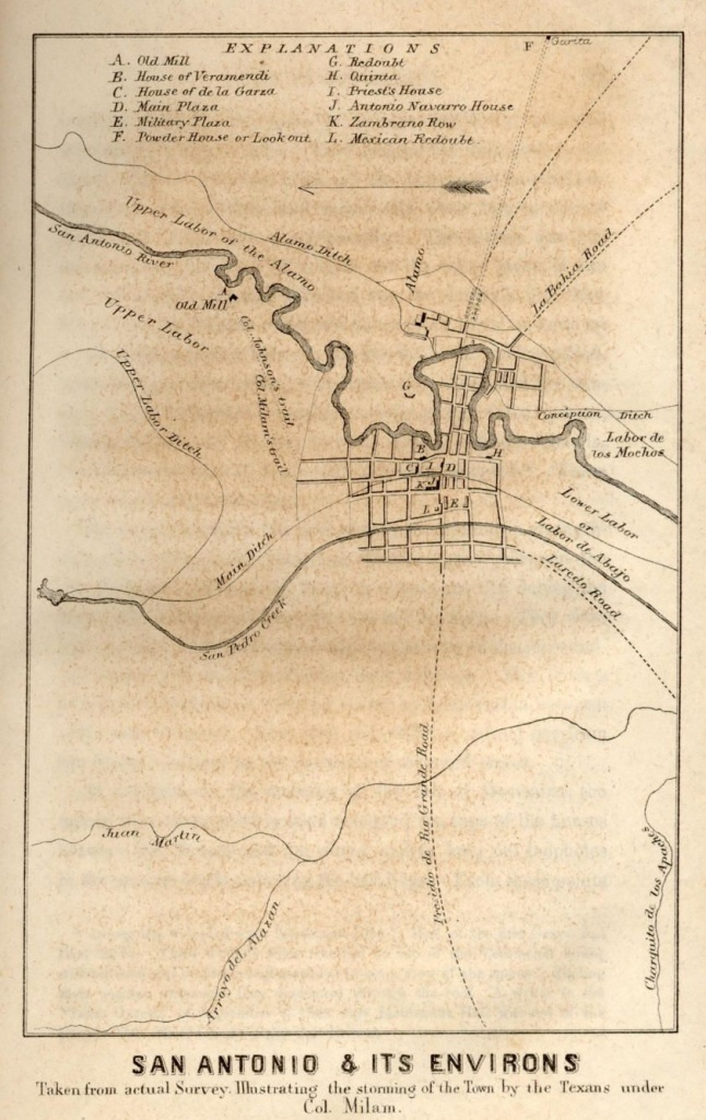 Map Of San Antonio From The First Battle Of The Alamo When It Was - Map Of The Alamo San Antonio Texas