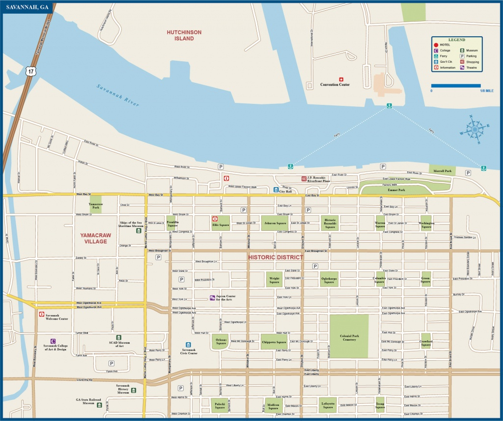 Map Of Savannah Airport Historic District Squares Area River Site Free - Printable Map Of Savannah Ga Historic District