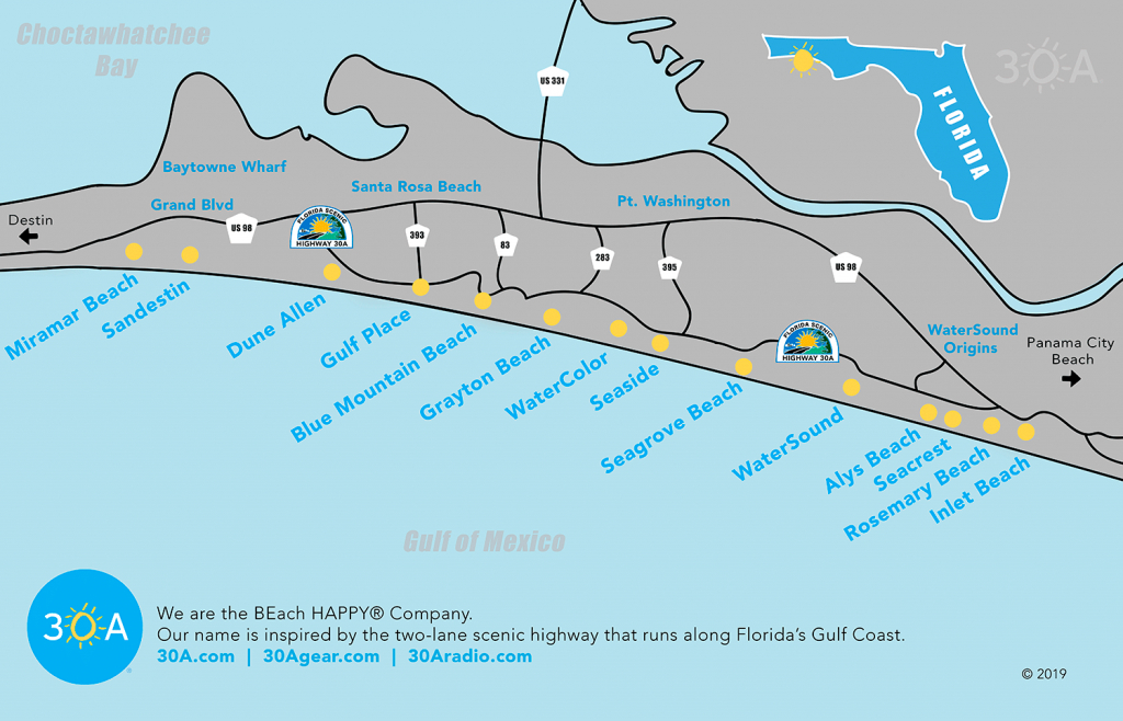 Map Of Scenic 30A And South Walton, Florida - 30A - Alys Beach Florida Map
