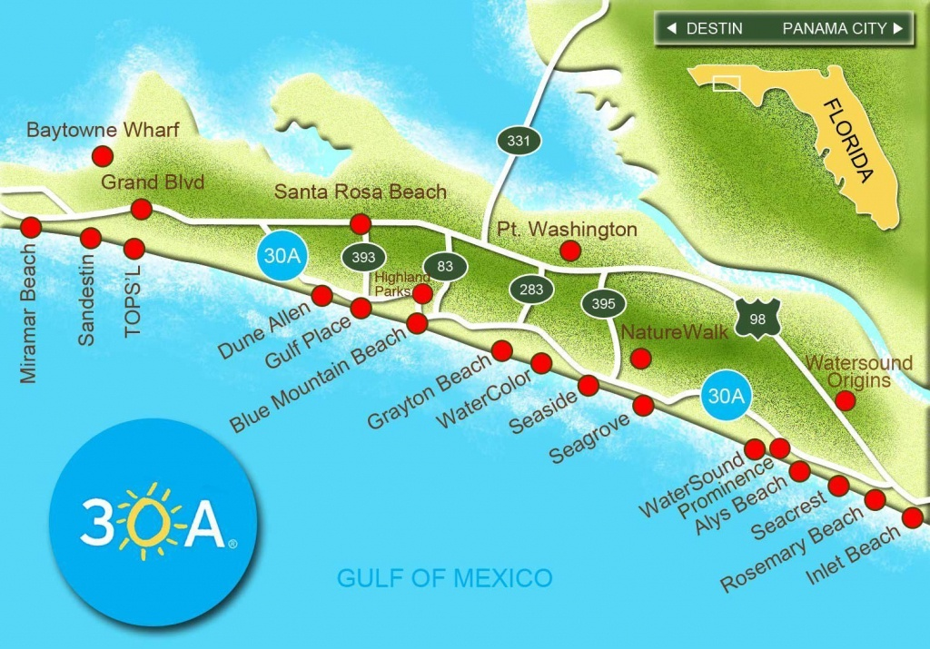 Map Of Scenic 30A And South Walton, Florida - 30A Panhandle Coast - Watersound Florida Map