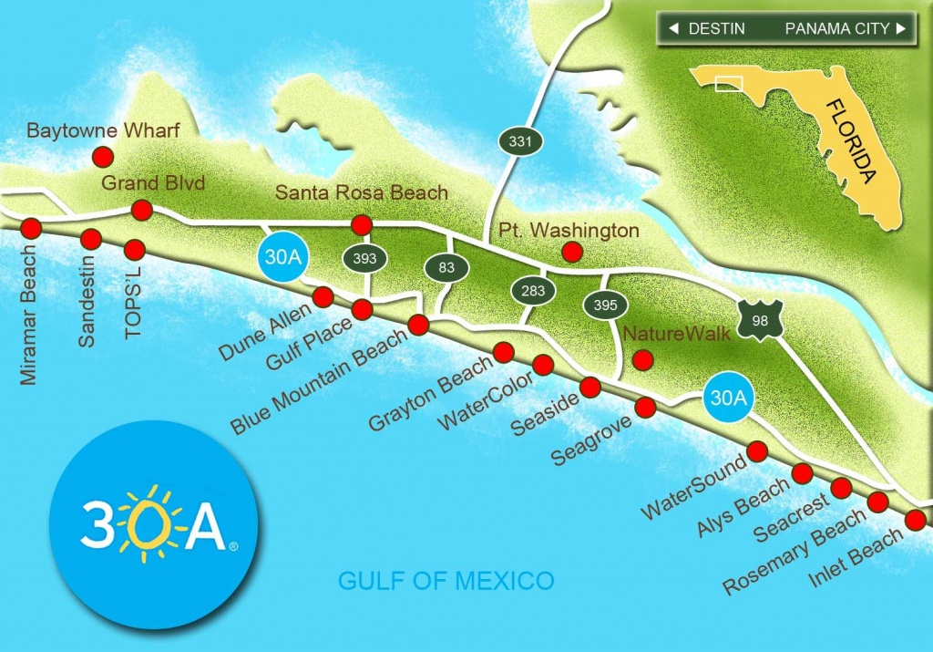 Map Of Scenic Highway 30A/south Walton, Fl Beaches | Florida: The - Map Of Watercolor And Seaside Florida