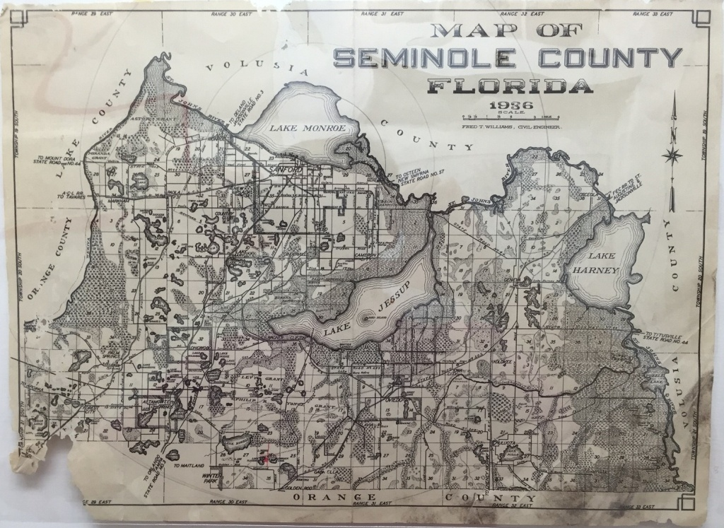 Map Of Seminole County, Florida, 1936 · Riches - Map Of Seminole County Florida