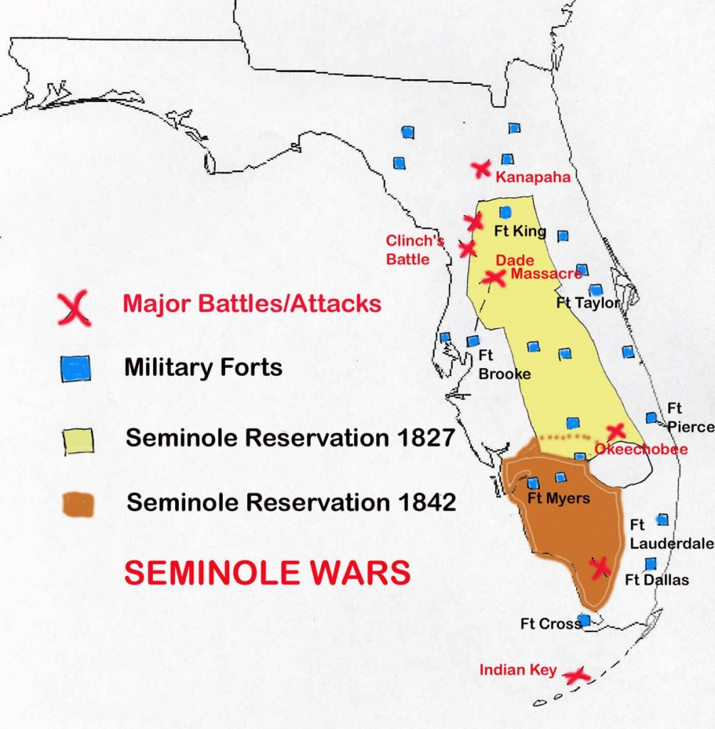 Map Of Seminole Wars In Florida | Family Tree | Seminole Indians - Seminole Florida Map