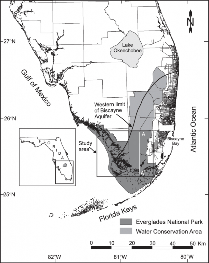 Map Of South Florida Showing The Boundaries Of Everglades National - Map Of Florida Showing The Everglades