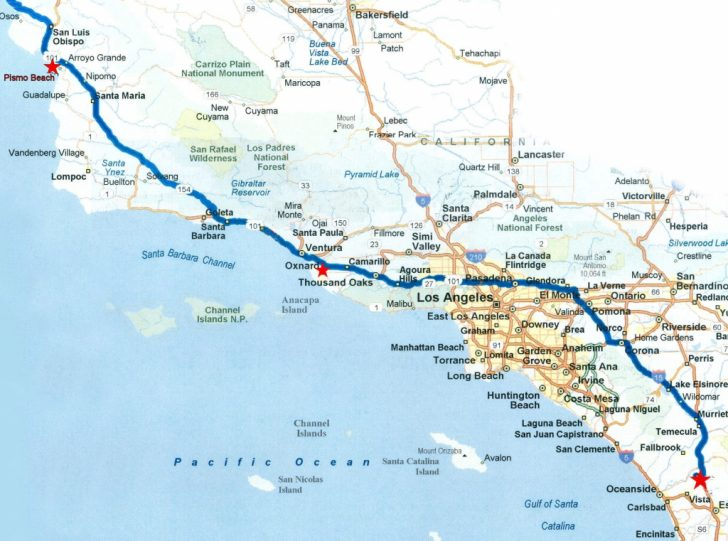Road Map Of California Coast