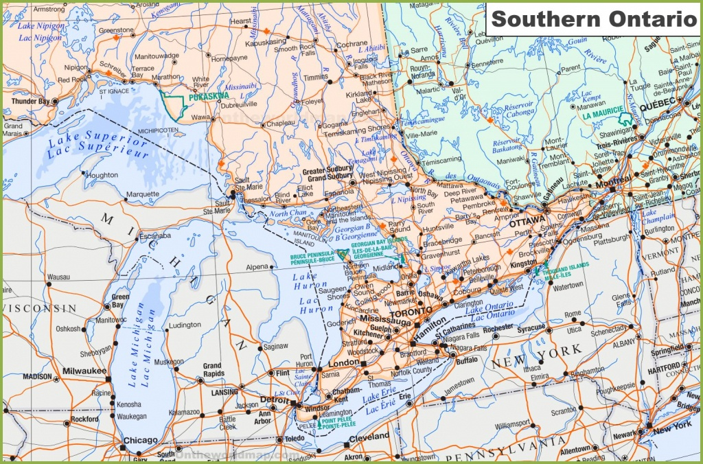 Map Of Southern Ontario - Free Printable Map Of Ontario